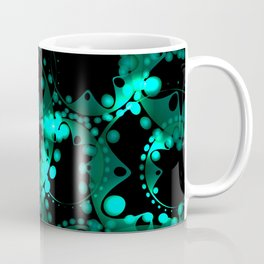 Abstract glowing pattern of soap bubbles and gears in azure design on a black background. Coffee Mug