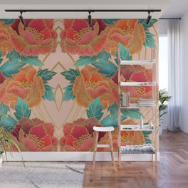 Pink Peonies Pattern with Gold Waves Wall Mural