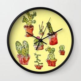 Cacti on yellow Wall Clock