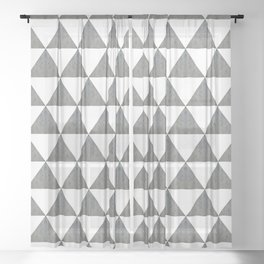 Cement White Triangles Sheer Curtain