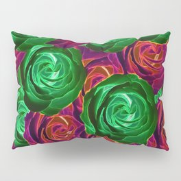 closeup rose pattern texture abstract background in red and green Pillow Sham