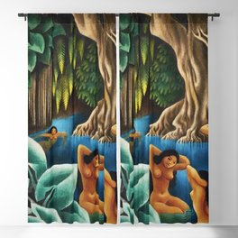 Bathing in the River by Miguel Covarrubias Blackout Curtain