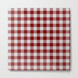 Maroon Buffalo Plaid Metal Print