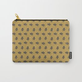 Minimal Pattern :: Yellow Blue Circle Flowers Carry-All Pouch