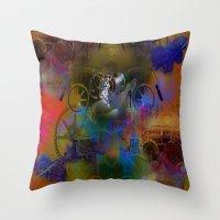 steam punk Throw Pillows featuring Steam Punk by Robin Curtiss