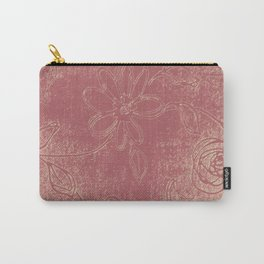 Light pink abstract design vintage velvet look with flowers Carry-All Pouch