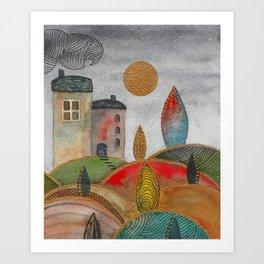 Watercolor landscape & line art III Art Print