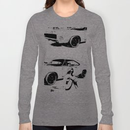 Pitstop, print, art, wall art, modern art, americans tyle, black and white  Long Sleeve T-shirt