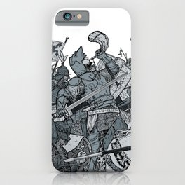 Saturday Knight Special STEEL BLUE / Vintage illustration redrawn and repurposed iPhone Case