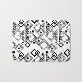Black and white applique Bath Mat