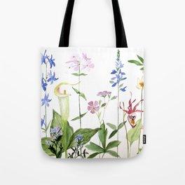 Botanical Garden Flower Wildflower Watercolor Art Tote Bag