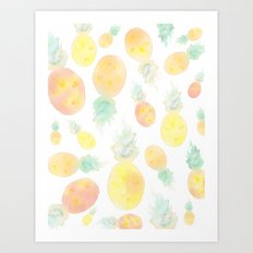 Watercolor Pineapple Painting  Art Print