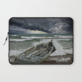 Shipwrecked Wooden Boat amidst Crashing Waves Laptop Sleeve