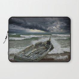 Shipwrecked Wooden Boat amidst Crashing Waves Laptop Sleeve