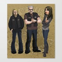 sons of anarchy Canvas Prints featuring Sons of Anarchy Illustration by Bark Point Studio
