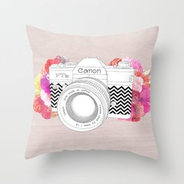 BLOOMING CAN0N Throw Pillow