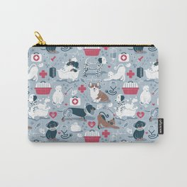 Veterinary medicine, happy and healthy friends // pastel blue background Carry-All Pouch