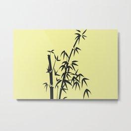 Bamboo big leaves yellow - black Metal Print