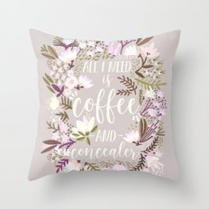Coffee & Concealer – Spring Palette Throw Pillow