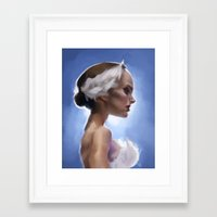 swan queen Framed Art Prints featuring Swan Queen Digital Paint by Artwork by Paulette Sorhaindo