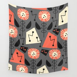 Mid-century modern flowers Wall Tapestry
