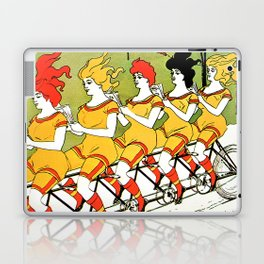 Vintage art Nouveau funny girls on a tandem bicycle Laptop & iPad Skin