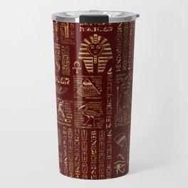 Egyptian hieroglyphs and symbols gold on red leather Travel Mug