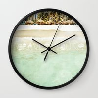 forever young Wall Clocks featuring Forever Young by Jenndalyn