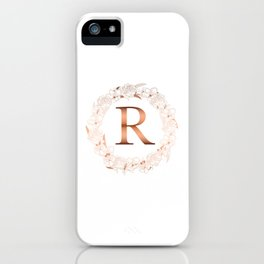 Letter R Rose Gold Wedding Initial iPhone Case