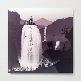 Waterfall Temple Flat Illustration Metal Print