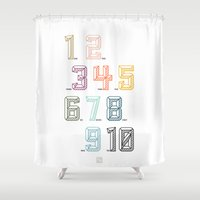 numbers Shower Curtains featuring Numbers by Tavia Lawrence