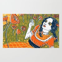 dorothy Area & Throw Rugs featuring Dorothy in the Poppy Field by Julia Minamata