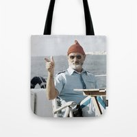 the life aquatic Tote Bags featuring LIFE AQUATIC by VAGABOND