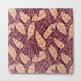 Purple leaves line artwork Metal Print