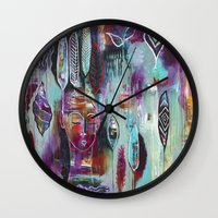 """flora bowley Wall Clocks featuring """"Muse Dance"""" Original Painting by Flora Bowley by Flora Bowley"""