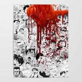 Ahegao Hentai Manga Anime B&W Guys Collage Bara Gay Halloween Poster