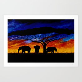 Sunset Elephants Art Print