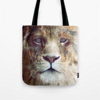 red Tote Bags featuring Lion // Majesty by Amy Hamilton