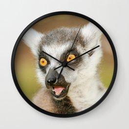 Closeup of a lemur Wall Clock