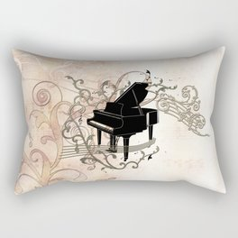 Music, piano with key notes and clef Rectangular Pillow