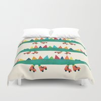 crocodile Duvet Covers featuring Crocodile on Roller Skates by Picomodi