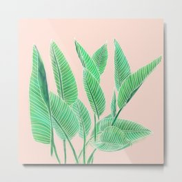 Modern pink tropical green watercolor hand painted leaf pattern Metal Print