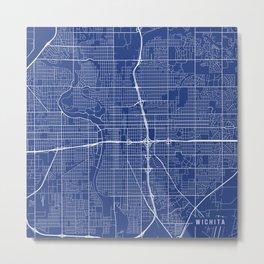 Wichita Map, USA - Blue Metal Print