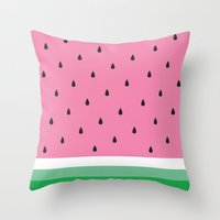 watermelon Throw Pillows featuring Watermelon by Anna Lindner