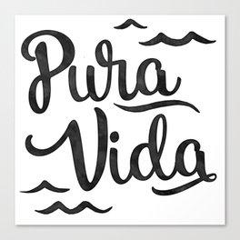 Pura Vida Costa Rica Waves in Black Canvas Print
