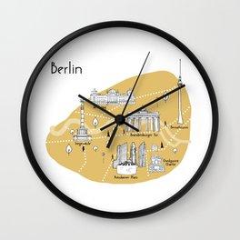 Mapping Berlin - Yellow Wall Clock