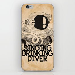 Grunge collage artwork with singing diver. Black and white picture with simple modern sailor in the iPhone Skin