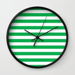 Horizontal Green Stripes Wall Clock