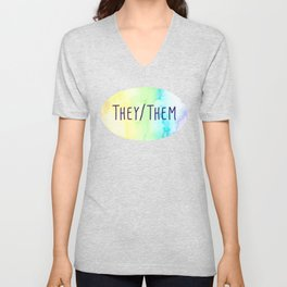They Them Pronouns (Watercolor Rainbow) Unisex V-Neck