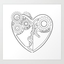Cool steampunk mechanical heart, hand drawn illustration Art Print